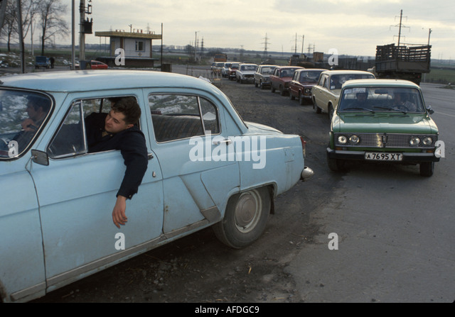 Ukraine Brovari automobile line gasoline shortages - Stock Image