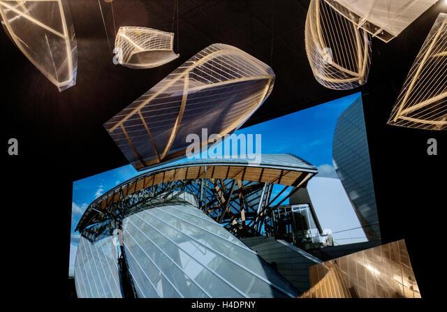Interior of Louis Vuitton Foundation Art Museum Paris France - Stock Image