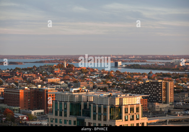 High angle view of a harbor with a city at night, Boston Harbor, South Boston, Boston, Suffolk County, Massachusetts, - Stock Image