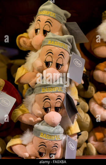 The Dwarf Bashful from Snow white and the seven dwarfs soft children's toys - Stock Image