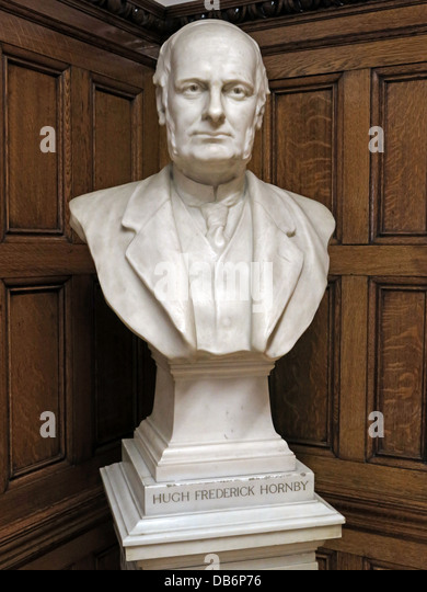 Liverpool Central Library Hugh Frederic Hornby statue - Stock Image