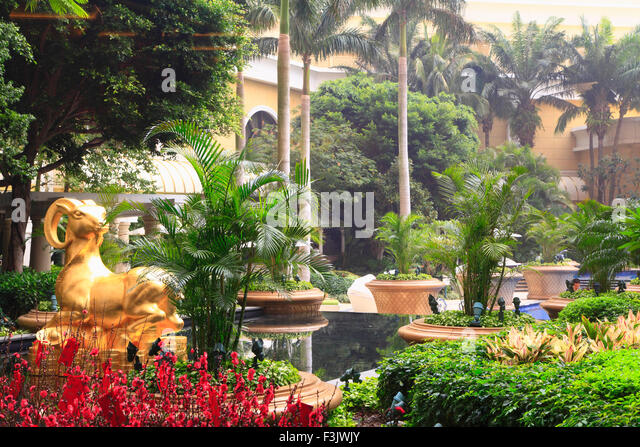 China, Macau, Wynn Hotel, garden, - Stock Image
