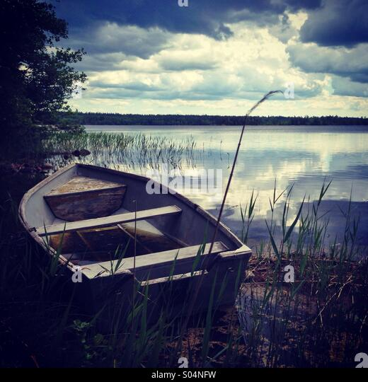 Boat on a lake in goteborg, Sweden - Stock Image
