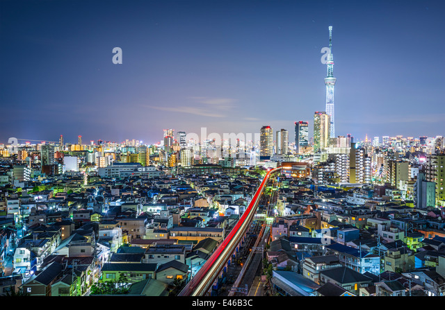 Tokyo, Japan cityscape with the Skytree. - Stock Image