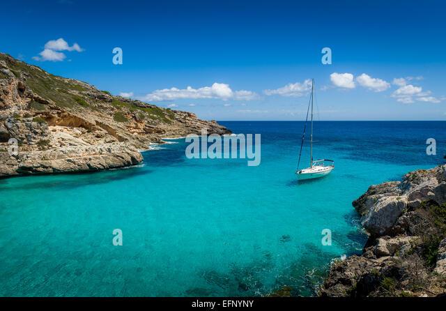 Yacht in dream bay - Stock Image