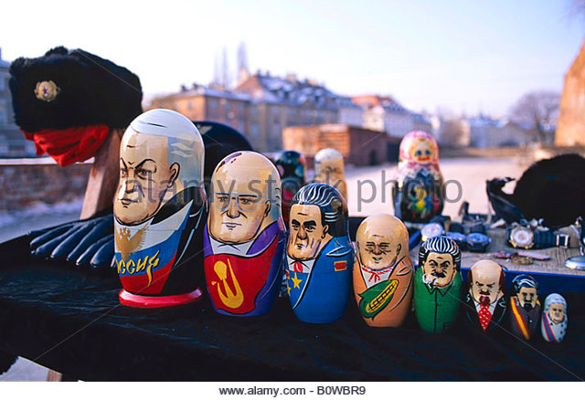 Matryoshka or babushka dolls painted as prominent Russian leaders from Boris Yeltsin to Catherine the Great, Warsaw, - Stock Image