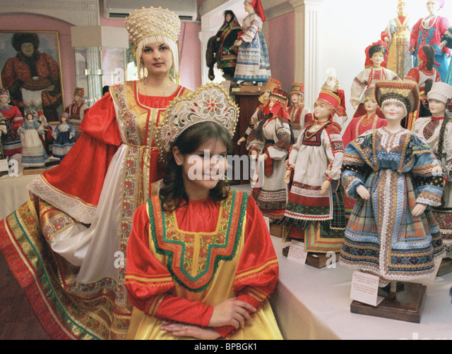 An exposition of the Russian National costume in Vladivostok. - Stock Image