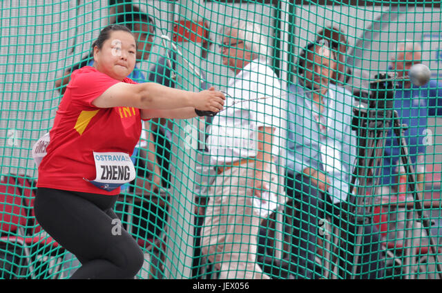Zheng Wang of China won the silver medal in women's hammer throw of Golden Spike Ostrava athletic meeting in - Stock-Bilder