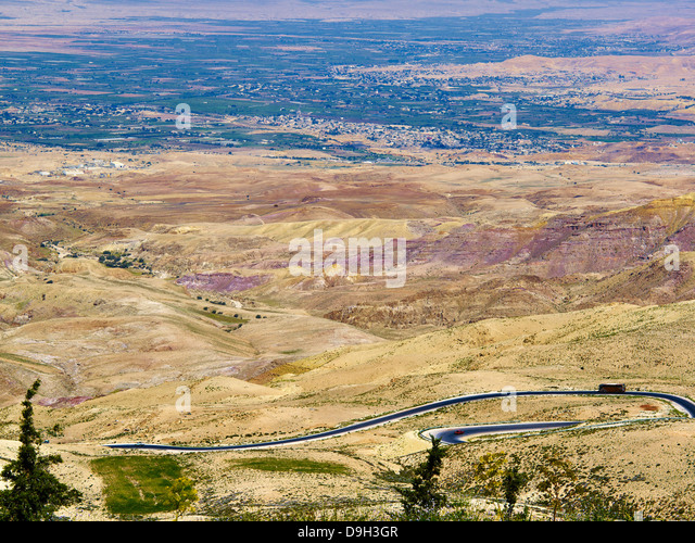 View into Jordan Valley to Israel from Mount Nebo, Jordan, Middle East - Stock Image