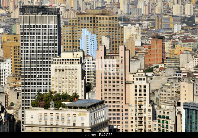 Sao Paulo view from the rooftop of Italia Building Brazil - Stock Image