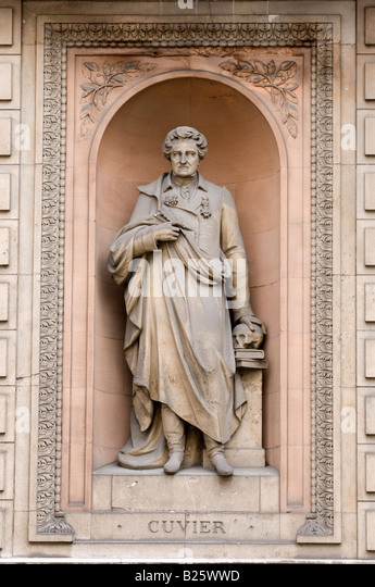 Statue of Georges Cuvier outside Royal Academy of Arts, London, England, UK - Stock Image