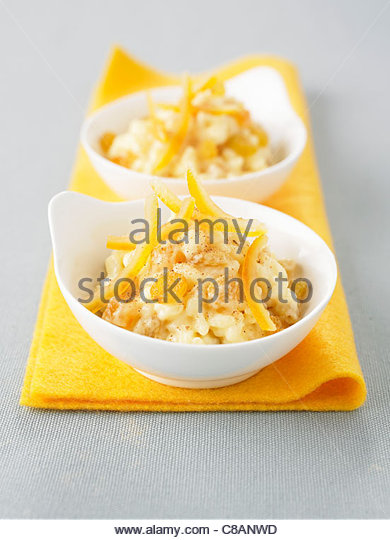 Rice pudding with confit fruit - Stock Image