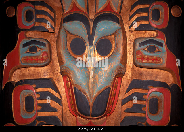 Alaska Tlingit juneau old carving - Stock Image