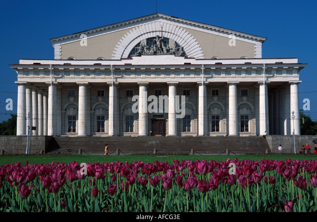 Russia former Soviet Union St. Petersburg Stock Exchange facing Neva River - Stock Image