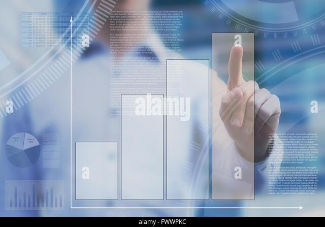 abstract dashboard on touchscreen, business infographics - Stock-Bilder