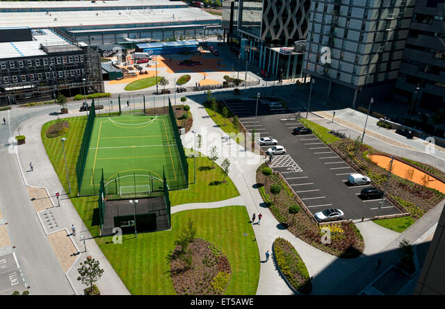 'The Pitch,' 5-a-side football and netball sports facility at MediaCityUK, Salford Quays, Manchester, England, - Stock Image