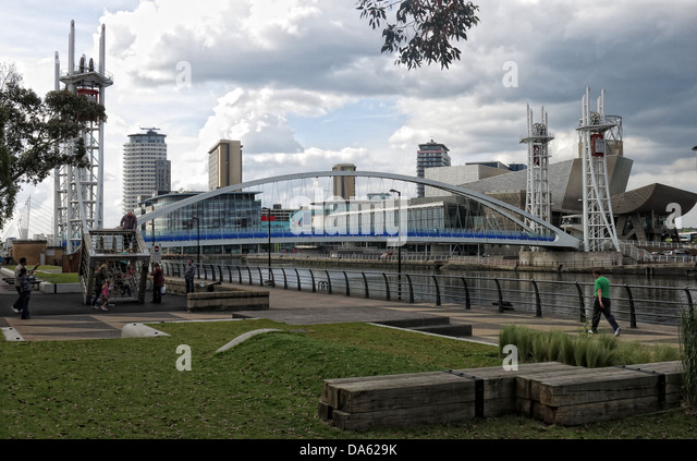Salford Quays, Manchester Ship Canal Dock side - Stock Image