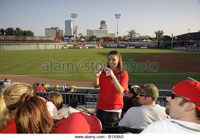 Arkansas North Little Rock Dickey Stephens Park minor league baseball Arkansas Travelers stadium ballpark sports - Stock Image