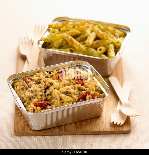 pasta shell bake and penne pasta bake (topic: bakes) - Stock Image