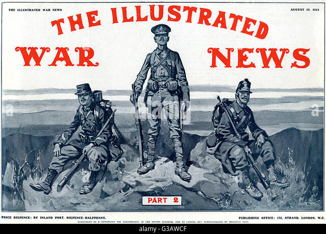 Front cover of the second issue of the Illustrated War News featuring an illustration of British, Belgian and French - Stock Image