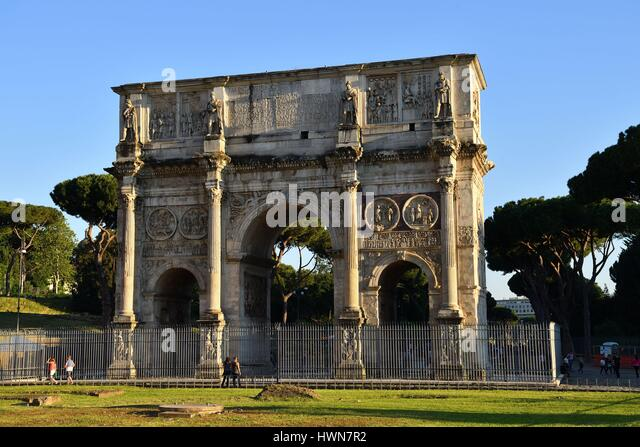 Italy, Lazio, Rome, historical center listed as World Heritage by UNESCO, the Roman Forum, Arch of Constantine (Arco - Stock Image