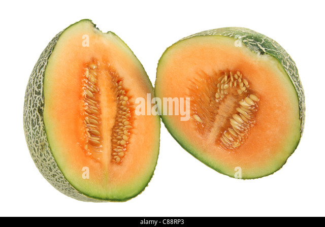 Two Halves of Rock Melon - Stock Image