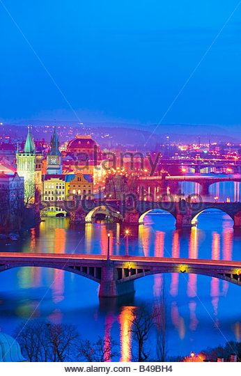 River Vltava Prague Czech Republic at twilight - Stock-Bilder