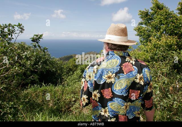 BVI Tortola Road Town Skyworld man straw hat Atlantic Ocean - Stock Image