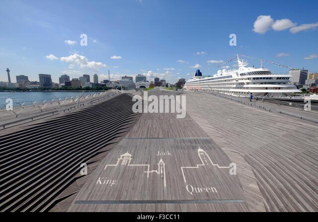 View of Osanbashi passenger terminal  in Yokohama Port in Japan - Stock Image