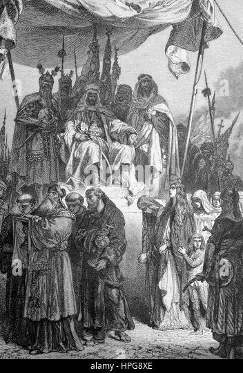 After the conquest of Jerusalem, Saladin lets the captured Christians pass by, Saladin l??t nach der Eroberung von - Stock-Bilder