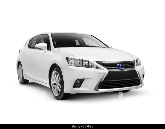 White 2014 Lexus CT 200h compact luxury hybrid hatchback car isolated on white background with clipping path - Stock Image