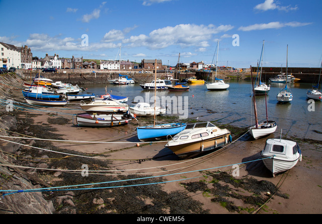 Beached Boats at Stonehaven Harbour Aberdeenshire Scotland - Stock Image