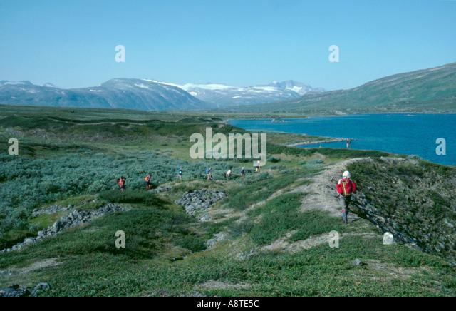 Trekking near the Norwegian border near Unna Alakasstugorna, Kebnekaise, Lappland, Norrbottens Län, arctic - Stock Image