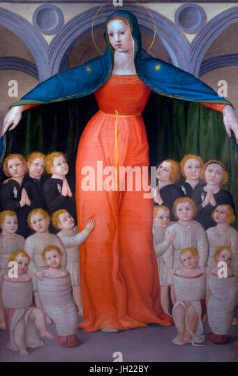 Madonna of the Innocenti, by Domenico del Michelino, circa 1440, Ospedale degli Innocenti, Florence, Tuscany, Italy, - Stock Image