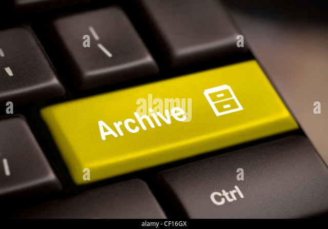 the yellow archive enter button key - Stock-Bilder