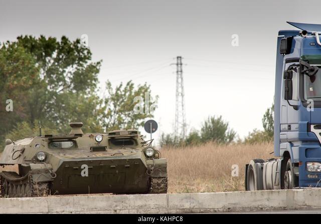 Yambol, Bulgaria. 26th Sep, 2017. Unusual form of transport park along the E76 main road to Bulgarian Turkey crossing - Stock Image