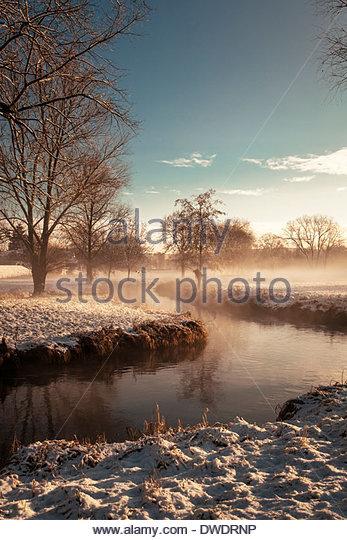 Germany, Bavaria, Landshut, winter landscape with morning sun - Stock Image