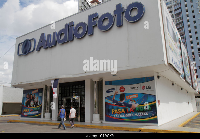 Panama City Panama Marbella shopping AudioFoto store electronics home appliances business facade parking sign logo - Stock Image