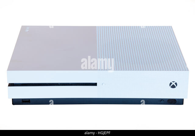 An XBOX ONE S games console on a white background - Stock Image