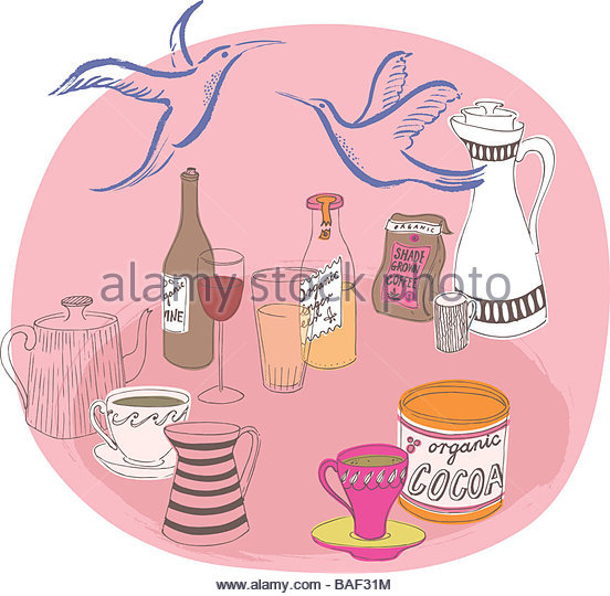 A Bunch of Organic Beverages - Stock Image