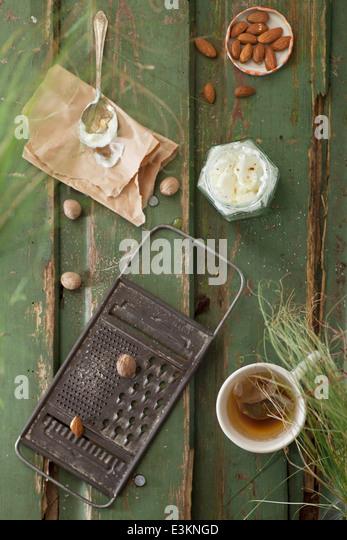 Almond, Nutmeg & Soya Yogurt Breakfast. - Stock Image