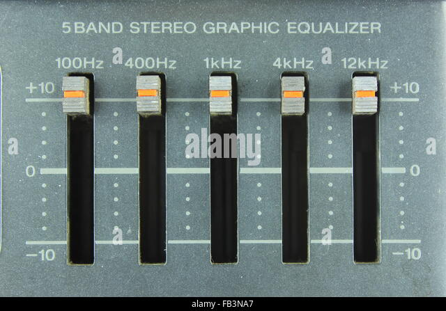 five band stereo graphic equalizer - Stock-Bilder