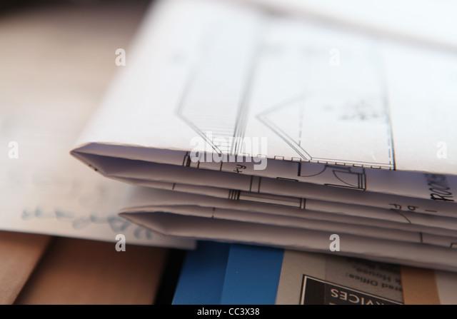 STACK OF BUILDING DRAWINGS PLANS - Stock-Bilder