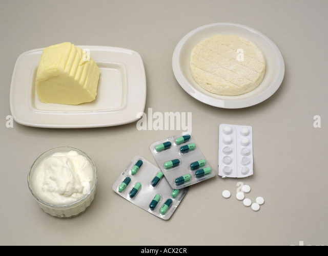 Butter Cheese Yogurt and Antibiotic - Stock Image
