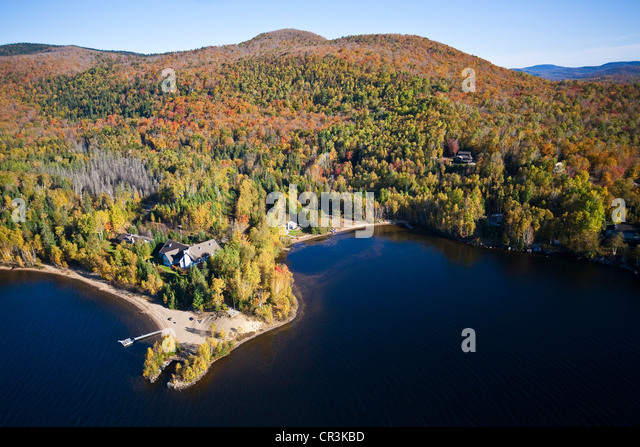 Canada, Quebec Province, Laurentides Region in Autumn, Indian Summer (aerial view) - Stock Image