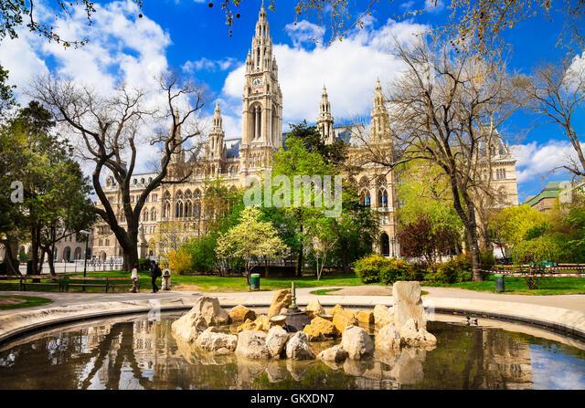 Beautiful elegant Vienna. view of city hall and beautiful park, Austria - Stock Image