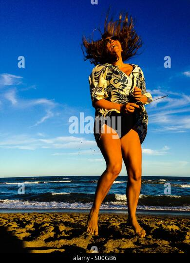 Joy in the beach - Stock Image