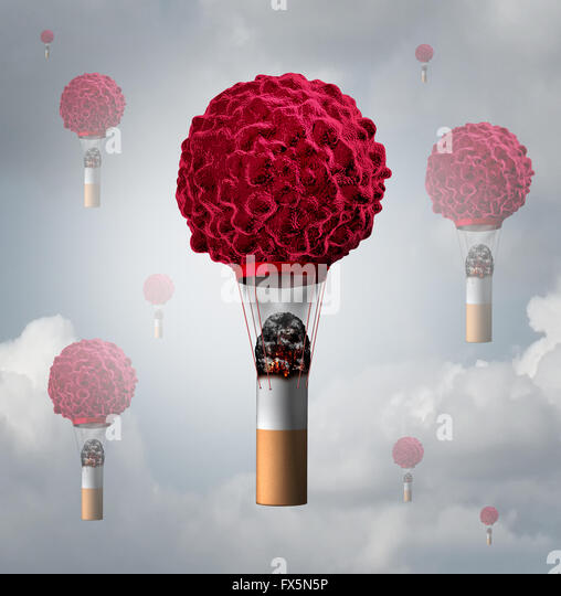 Smoking cancer health care concept as a human cancer cell shaped as an air balloon with a lit smoking tobacco cigarette - Stock-Bilder