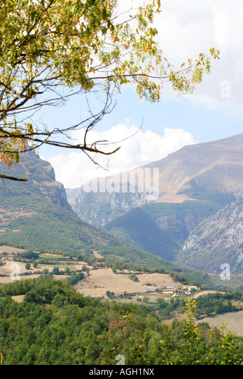 View of the Sibillini Mountains from Montefortino Le Marche Italy - Stock Image