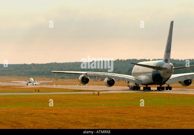 Airbus A380 and DC-3 Dakota at Farnborough International Airshow 2006 UK - Stock Image